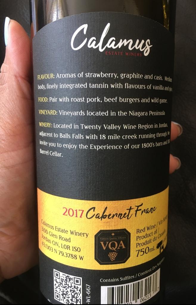 Review of Calamus Estate Winery and wines in Jordan Niagara Ontario